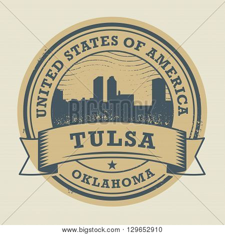 Grunge rubber stamp or label with name of Tulsa, Oklahoma, vector illustration