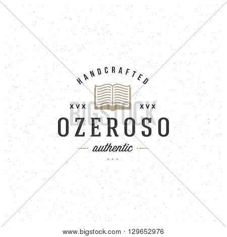 University Logo Template. Vector Design Element Vintage Style for Logotype, Label, Badge, Emblem. College Logo, Book Logo, Library Logo, Book Line Icon Silhouette.