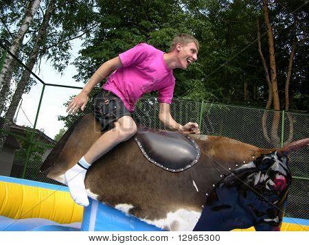boy on bull simulator poster
