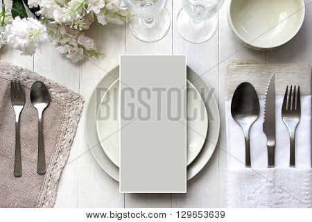 Table card mockup menu mockup. Vintage fashion photography. Wedding dinner design. Place card reserved card. Beautiful dishware traditional style.