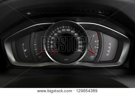 car interior dashboard details with indication lamps