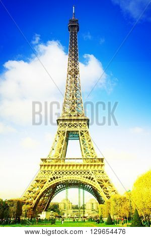 eiffelTower in sunny day in Paris,  France, retro toned