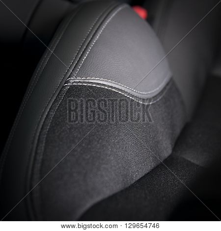 Leather  car seats. Interior detail with stitch
