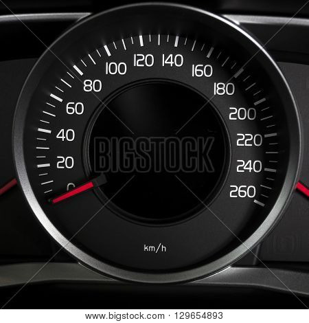 car interior dashboard details with speed measuring display