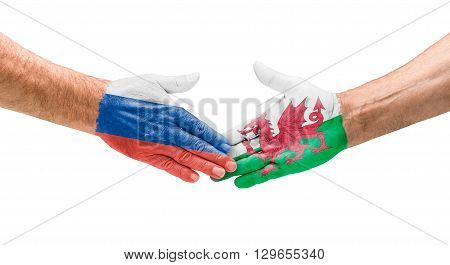 Football Teams - Handshake Between Russia And Wales