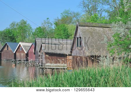 Fishing Hut with thatched Roof in Roebel at Lake Mueritz in Mecklenburg Lake district,Mecklenburg western Pomerania,baltic Sea,Germany