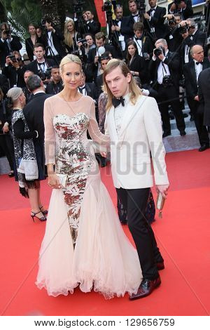 Lady Victoria Hervey and Christophe Guillarme attend the 'Slack Bay (Ma Loute)' premiere during the 69th annual Cannes Film Festival at the Palais des Festivals on May 13, 2016 in Cannes, France.