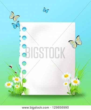 White blank paper sheet decorated with grass ladybug and butterfly