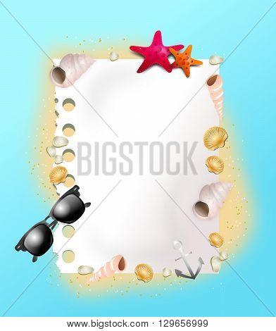 Beautiful illustration of summer background decorated with seashells