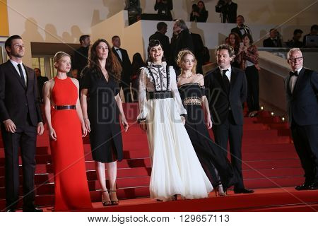 Actress Lily-Rose Depp,  Soko,  Melanie Thierry attend the 'I, Daniel Blake' premiere during the 69th annual Cannes Film Festival at the Palais des Festivals on May 13, 2016 in Cannes, France.
