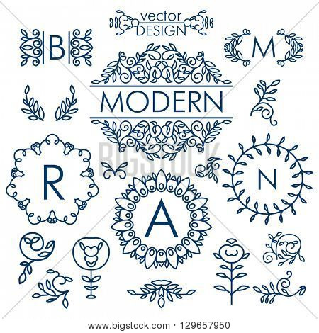 Big Vector set of line floral design elements for logos, frames and borders in modern style. Good for wedding invitations, page decoration e.t.c. Floral set of line art elements. Business logo.