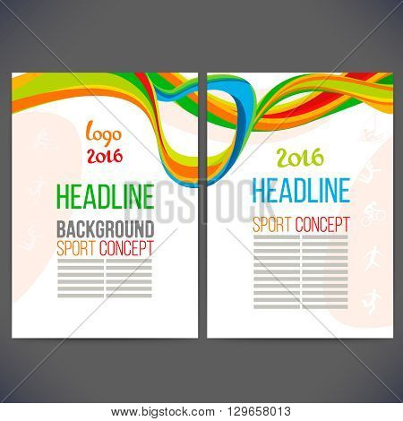 Abstract vector template design with colored lines and waves. Concept brochure, Web sites, page, leaflet, logo and text separately. Sport concept banners.Sign logo 2016.
