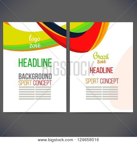 Abstract vector template design with colored lines and waves. Concept brochure, Web sites, page, leaflet, logo and text separately. Sport concept banners.Sign brazil 2016.