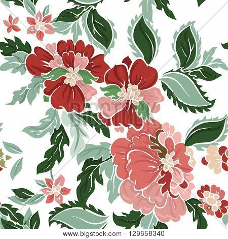 Beautiful floral seamless pattern on white. Vector background. Red flowers with green leaves.