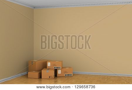 Box Cardboard Boxes on the floor against a white wall Shipping. 3d illustraton