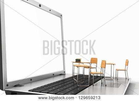 Webinar concept. Schooldesk and chalkboard on the laptop keyboard. 3d illustration