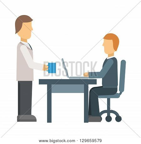 Office secretary business, people and paperwork concept. Businessman taking folder papers from secretary in office. Office secretary with cup of coffee. Office secretary business person worker manager