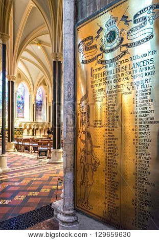 Dublin Ireland - July 30 2013: A memorial in the interior of the St Patrik's cathedral