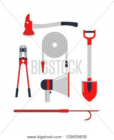 Cartoon collection of fire equipment. Firefighters tools vector set and red safety firefighters tools. Firefighters tools fire equipment extinguisher safety and emergency protection firefighters tool.