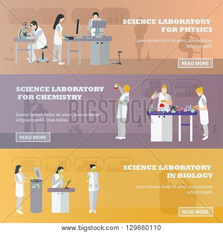Vector set of medical laboratory banners. Illustration in flat style design. Doctors and scientist working in lab.