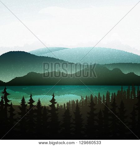 Summer landscape of nature. Nature and landscape. Mountain landscape with forest and lake . Advertising background travel and camping. Mountain forests and rivers.  National Park. Background  gaming .