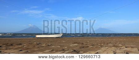 panoramic view of Lake Nicaragua and Ometepe island
