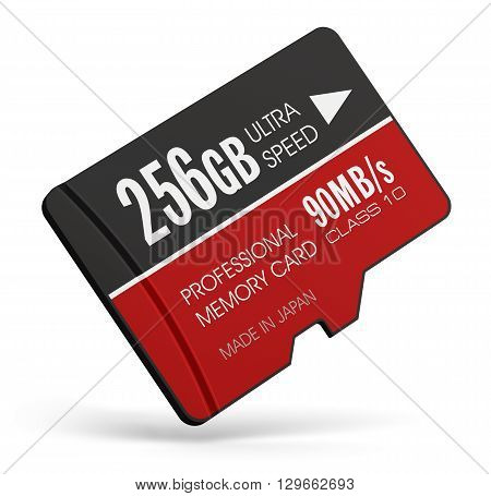 3D render illustration of high speed 256 GB Class10 professional MicroSD flash memory card for usage in smartphones, tablet computer PC, mobile phones, photo cameras and other devices isolated on white background