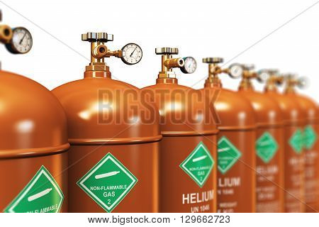 3D render illustration of the group of brown metal steel liquefied compressed natural helium gas containers or cylinders with high pressure gauge meters and valves arranged in row and isolated on white background