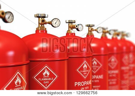3D render illustration of the group of red metal steel liquefied compressed natural propane gas LNG or LPG containers or cylinders with high pressure gauge meters and valves arranged in row and isolated on white background with selective focus effect