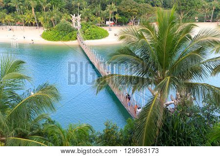 Suspension Bridge Linking Palawan Beach To The Southernmost Point Of Continental Asia, Sentosa Islan