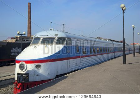 SAINT PETERSBURG, RUSSIA - MARCH 30, 2016: High-speed train ER-200 at the platform of the Warsaw station. Historical landmark of the city Saint-Petersburg