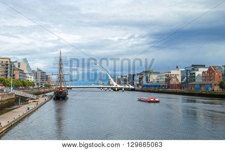 Dublin Ireland - August 3 2013: Nord Wall quay the S.Beckett bridge