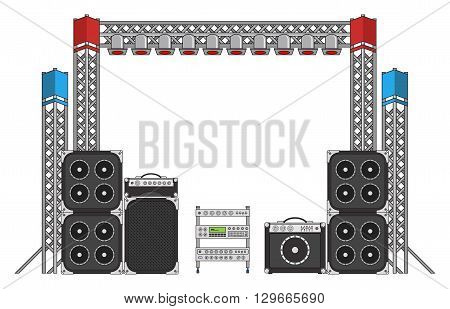 Big modern concert and festival speakers light rigs and equpment