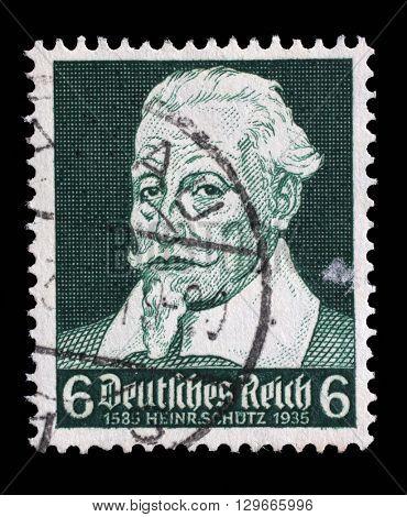 ZAGREB, CROATIA - JUNE 22: A stamp printed in the German Reich shows Heinrich Schutz (1585-1672), composer, circa 1935, on June 22, 2014, Zagreb, Croatia