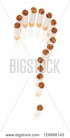 Cigarettes are laid out in the form of a question mark isolated on white background