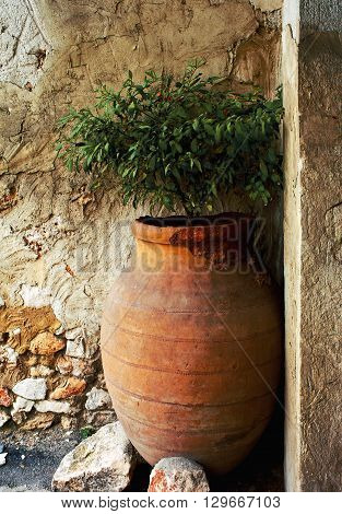 Old spanish pitcher for production wine in Chinchon, Madrid Spain