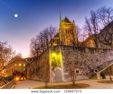 Back of Saint-Pierre cathedral and park in Geneva by night, Switzerland, HDR