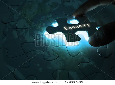 Economy Global Business with Puzzle World in the dark