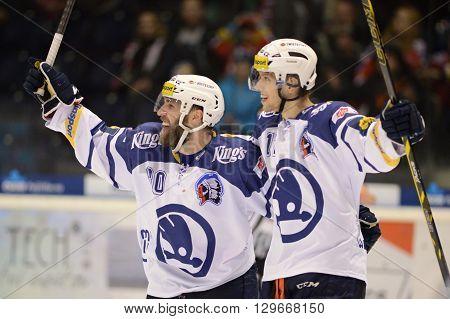 Pardubice 16/01/2015 _ Jan Sykora and Nicolas Johnson, 38.round of highest Czech ice hockey league between HC CSOB Pojistovna Pardubice and HC Skoda Plzen