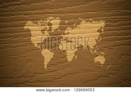 Wood Texture Surface Vintage Style With World Map
