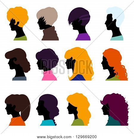 Set of female heads isolated on a white background. Women's profiles in a flat style. Female avatars with different hairstyles. Vector illustration.