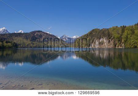Alpsee lake at Hohenschwangau Bavaria in Germany