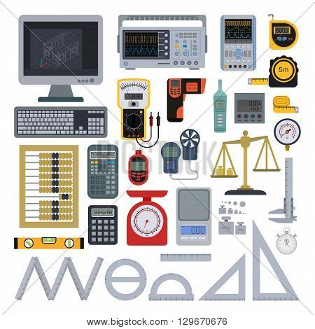 Measurement tools icon pack. Measuring tools vector and ruler measuring tools. Measuring tools ruler equipment instrument scale work construction and measuring tools meter technology engineer.