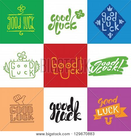 Good luck vector. Hand lettering. Greeting backgrounds good luck lettering. Good luck lettering greeting message text background and  farewell banner wish good luck lettering happiness lucky happy graphic.