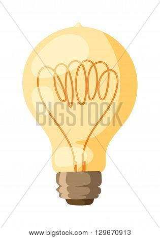 Glowing yellow light bulb as inspiration concept. Light bulb energy electricity idea vector and light bulb electric power symbol. Light bulb innovation creative bright glass icon technology.