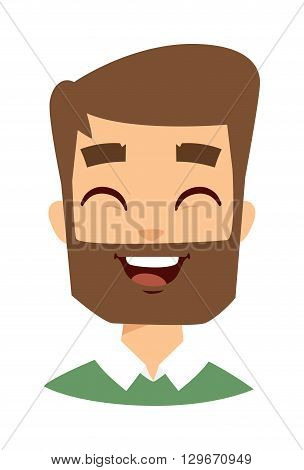 Happiness people concept, young bearded man face. Happy hipster face vector and happy hipster face smile. Happy hipster man with beard and happy hipster adult fashion bearded boy face.