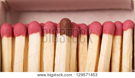 Single brown matchstick among red tones, out of the crowd concept, in a matchbox macro