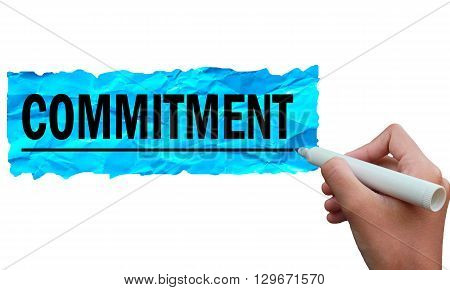 commitment sentence written on colorful paper using a black marker