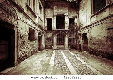 Dilapidated Courtyard of the Old Italian Home in the City of Minori Vintage Style Toned Picture