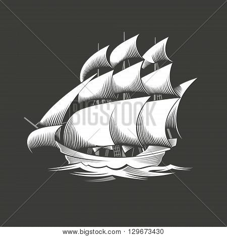 Sailing ship. Vintage vessel. White silhouette on black background. Vector